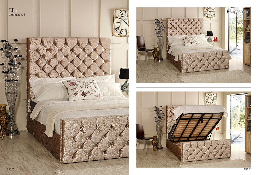 Ella Ottoman Storage Bed Upholstered In Chenille Or